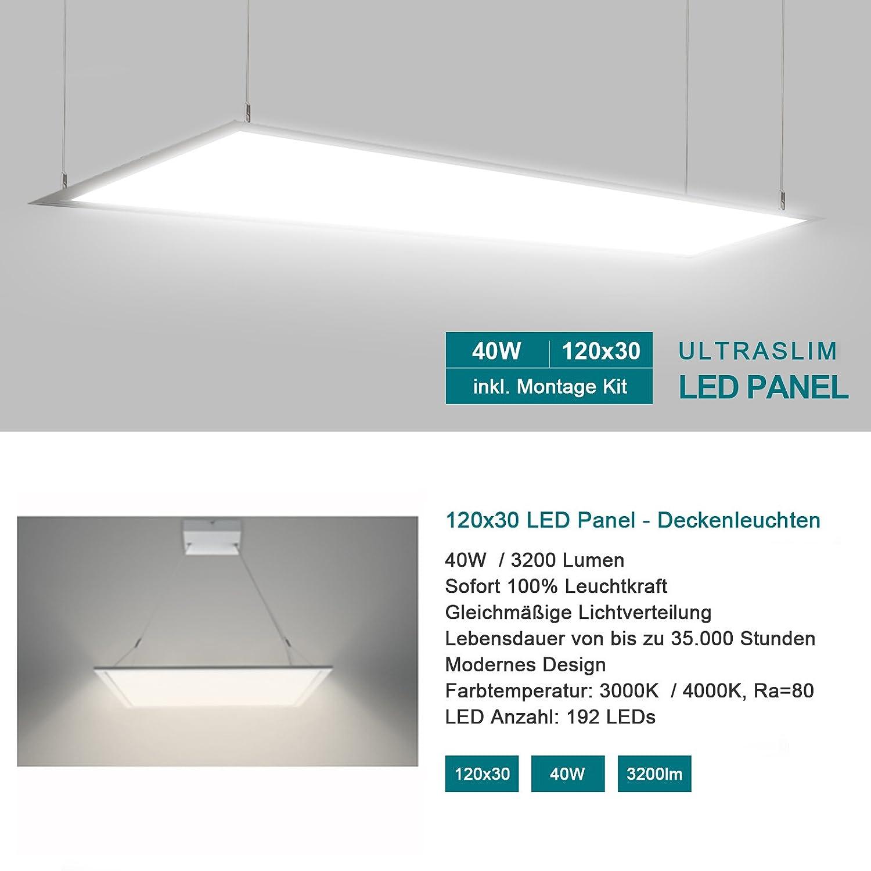 120x30cm 40W LED Panel Light Ultra Slim / Ceiling Panel Flat Tile Light /  Natural White 4000k / Equal To 200W Fluorescent Bulb / 3200lm White Frame  Energy ...
