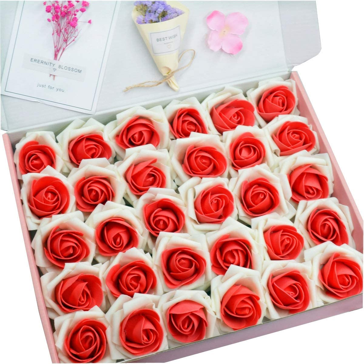 Anndason 50 PCS Artificial Roses Flowers Artificial Foam Roses Fake Roses for Home Decorations Wedding Bouquets Party (Red)