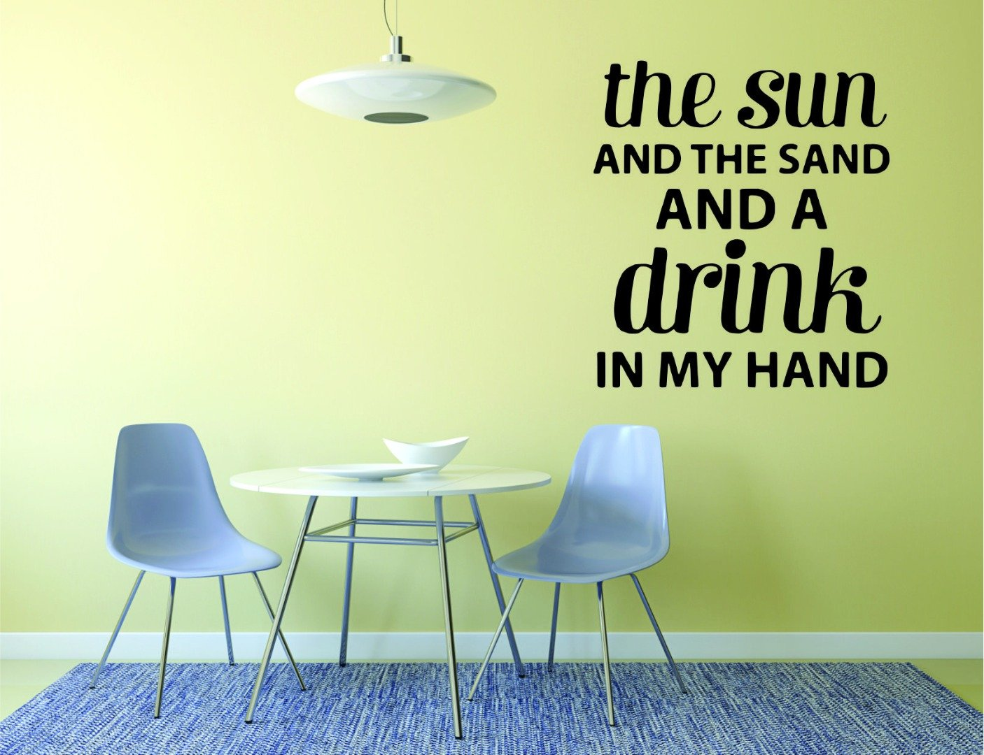 Vacation Fun Quote Relax Wall Decal 12 x 18 Black Design with Vinyl RAD 988 1 The Sun and The Sand and A Drink in My Hand