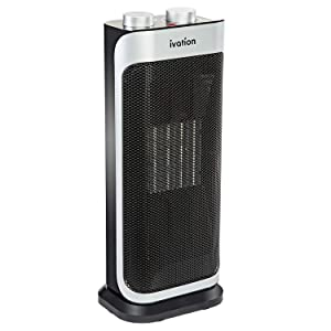 Ivation Ceramic Fan Heater – 1500W Oscillating 3-in-1 Heater & Fan w/Self-Regulating Thermostat, Adjustable Temperature & Fan Strength, Removable Filter, Overheat & Tip-Over Protection & Carry Handle