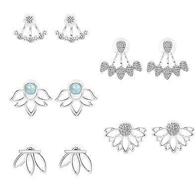 677047096995a Thunaraz 5Pairs jacket Lotus Flower Bar Stud Earrings for Women Girls  Crystal Ear Chic Cuff Earrings