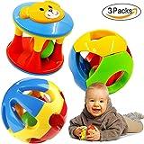 FOREAST 3 Pcs Baby Rattle Ball Toys Colourful Shaking Bell Developmental Rolling Balls Newborn Handbells Infant Gift