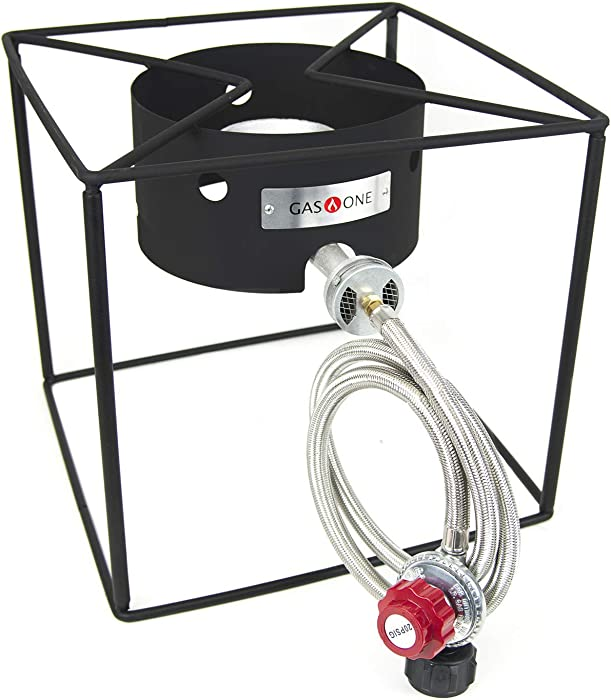 GasOne B-5100 Simplicity Compact Burner-Camp Stove Gas Cooker with High Pressure Propane Regulator and Hos