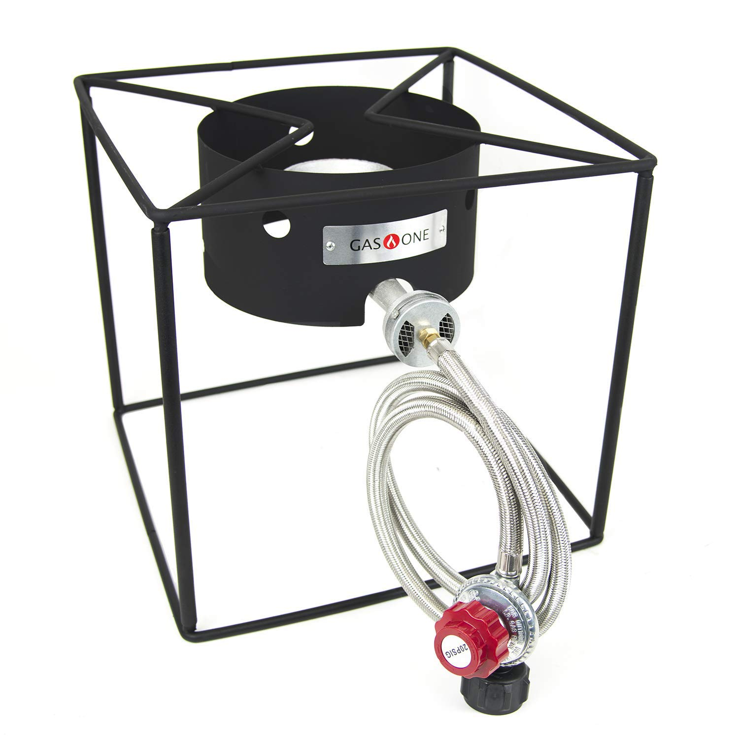 GasOne Simplicity Portable Propane Burner - Camping Stove - with High Pressure Propane Regulator and Hose by GasOne