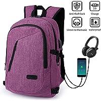 Mochila para portátil, mochila DOXUNGO antirrobo unisex con bloqueo Mochila portátil delgada con puerto de carga USB y puerto para audífonos para mujeres y hombres, para portátil y tableta Ipad de hasta 15.6 pulgadas (Púrpura)