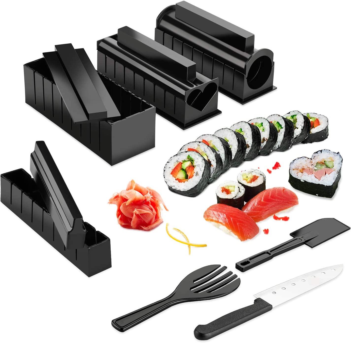 [Version améliorée] AGPTEK Sushi Maker Kit 11 pièces, Appareils et Moules à Sushi avec un Couteau de Super Qualité, Kit Sushi préparation pour sushi, facile à nettoyer