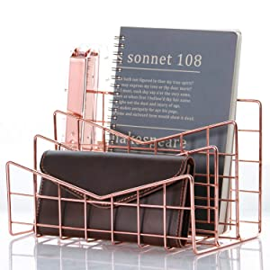 Nugorise 3 Slot Letter Holder,Desk Wire Letter Mail Sorter, Decorative File Storage Organizer for Postcard, Mail, Brochure and Notebook, Rose Gold