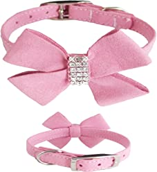 WwWSuppliers Cute Suede PU Leather Beautiful Butterfly Big Bow Bling Rhinestones Crystal Diamond Dog Puppy Cat