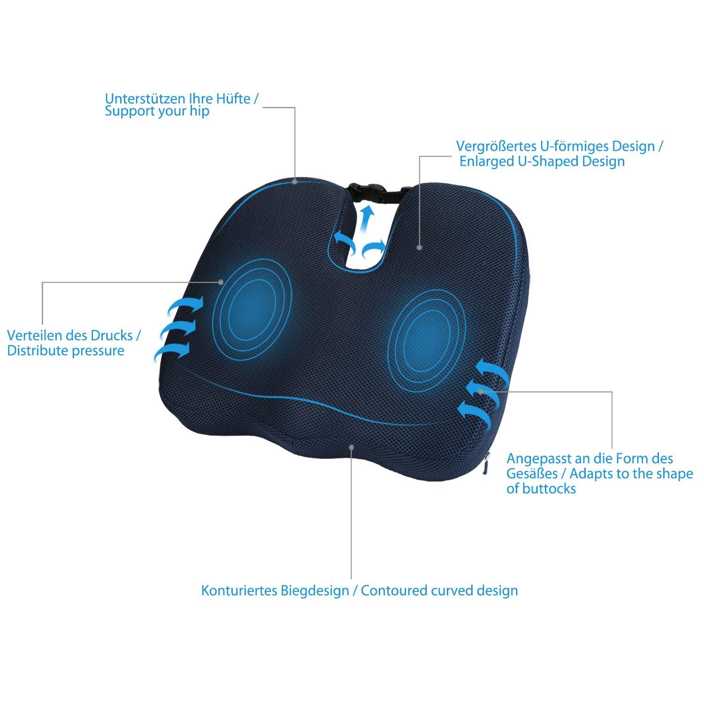 MonTr/üe Orthop/ädisches Sitzkissen aus Memory-Schaum Ergonomische Sitzauflage mit entfernbarem Anti-Rutsch Bezug Blau