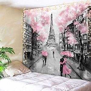 AMBZEK Eiffel Tower Tapestry Paris France 59Hx78W Inch Oil Painting European City Pink Tree Lover Couple Romantic Vintage Decor Fantasy Fashion Art Wall Hanging Bedroom Living Room Dorm Decor Fabric