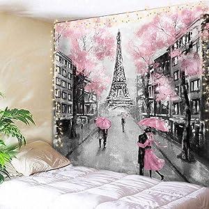 AMBZEK Eiffel TowerTapestry Paris France 59Hx78W Inch Oil Painting European City Pink Tree Lover Couple Romantic Vintage DecorFantasyFashion Art Wall Hanging Bedroom Living Room Dorm Decor Fabric