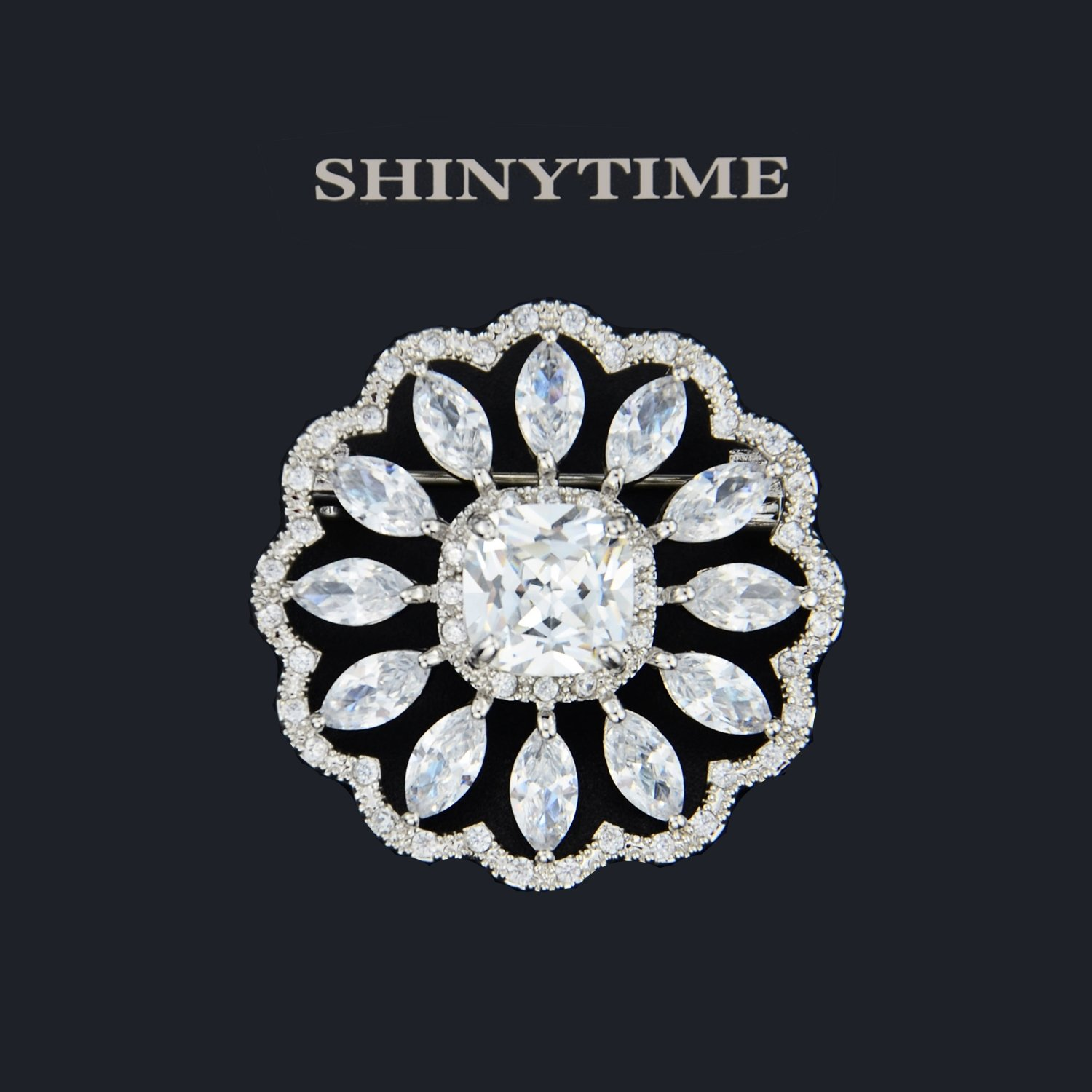 SHINYTIME Rhinestone Brooch Pin Crystal Fashion Clear Pins Women Wedding Brooches Silver Jewelry with Box by SHINYTIME (Image #2)