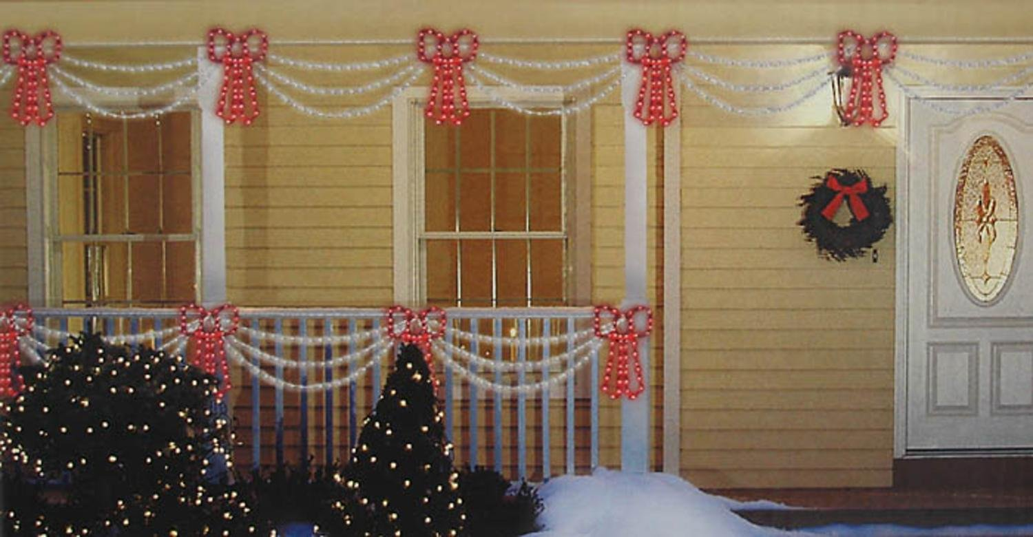 Outdoor Swag Lights Part - 15: Amazon.com: Sienna Set Of Swag Style Christmas Lights With Red Shimmering  Bow And White Wire: Home U0026 Kitchen