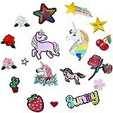 18 piezas de unicornio y flores para ropa para planchar o coser en parches bordados