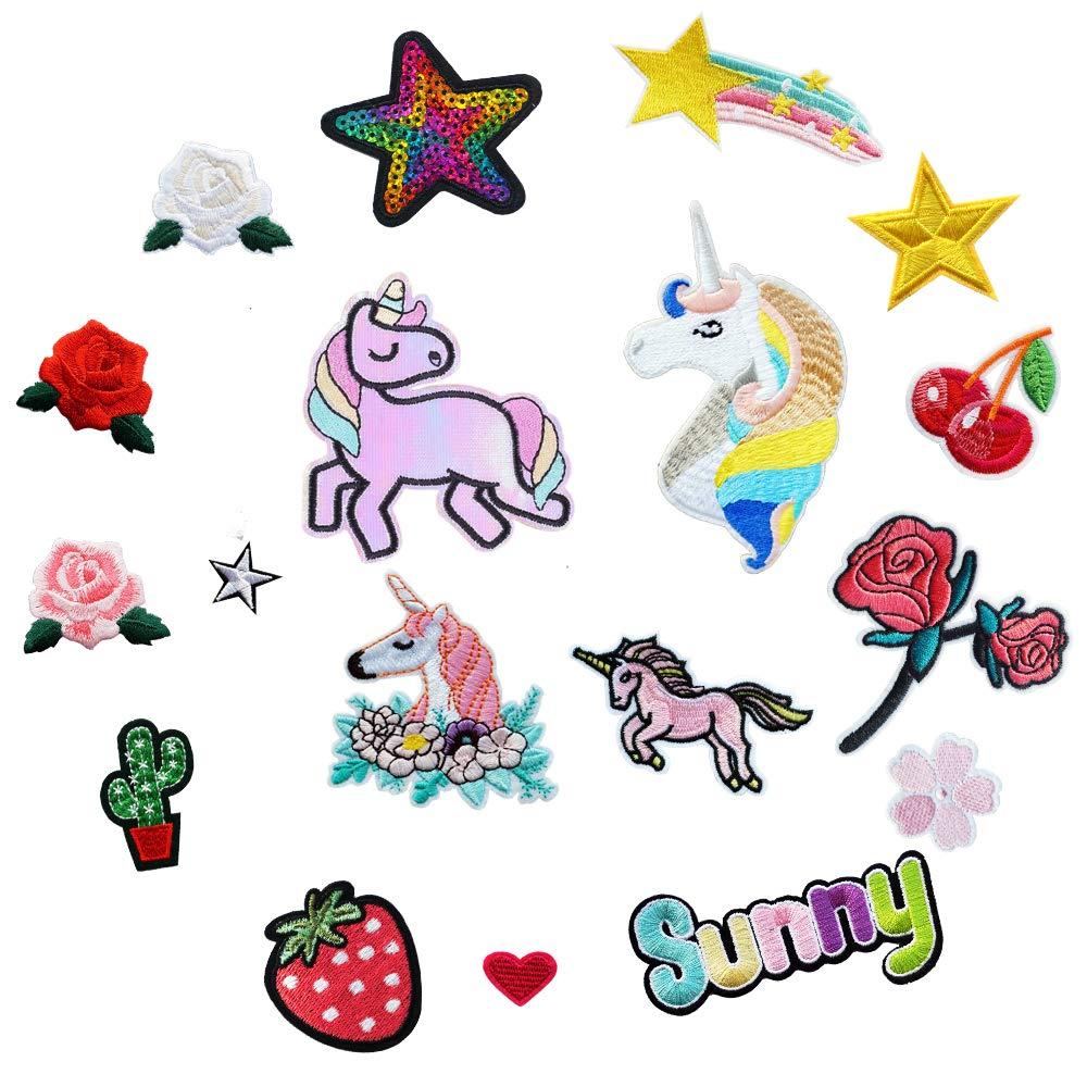 18PCS unicorno e fiori applicati per abbigliamento di ferro o cucire su ricamato toppa applique Shoulashou