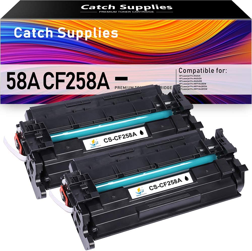 Catch Supplies Compatible Toner Cartridge Replacement for 58A CF258A 58X CF258X Toner for HP Laserjet Pro M404N M404DN M404DW HP Laserjet Pro MFP M428FDW M428FDN Black Toner Cartridge(2-Pack)