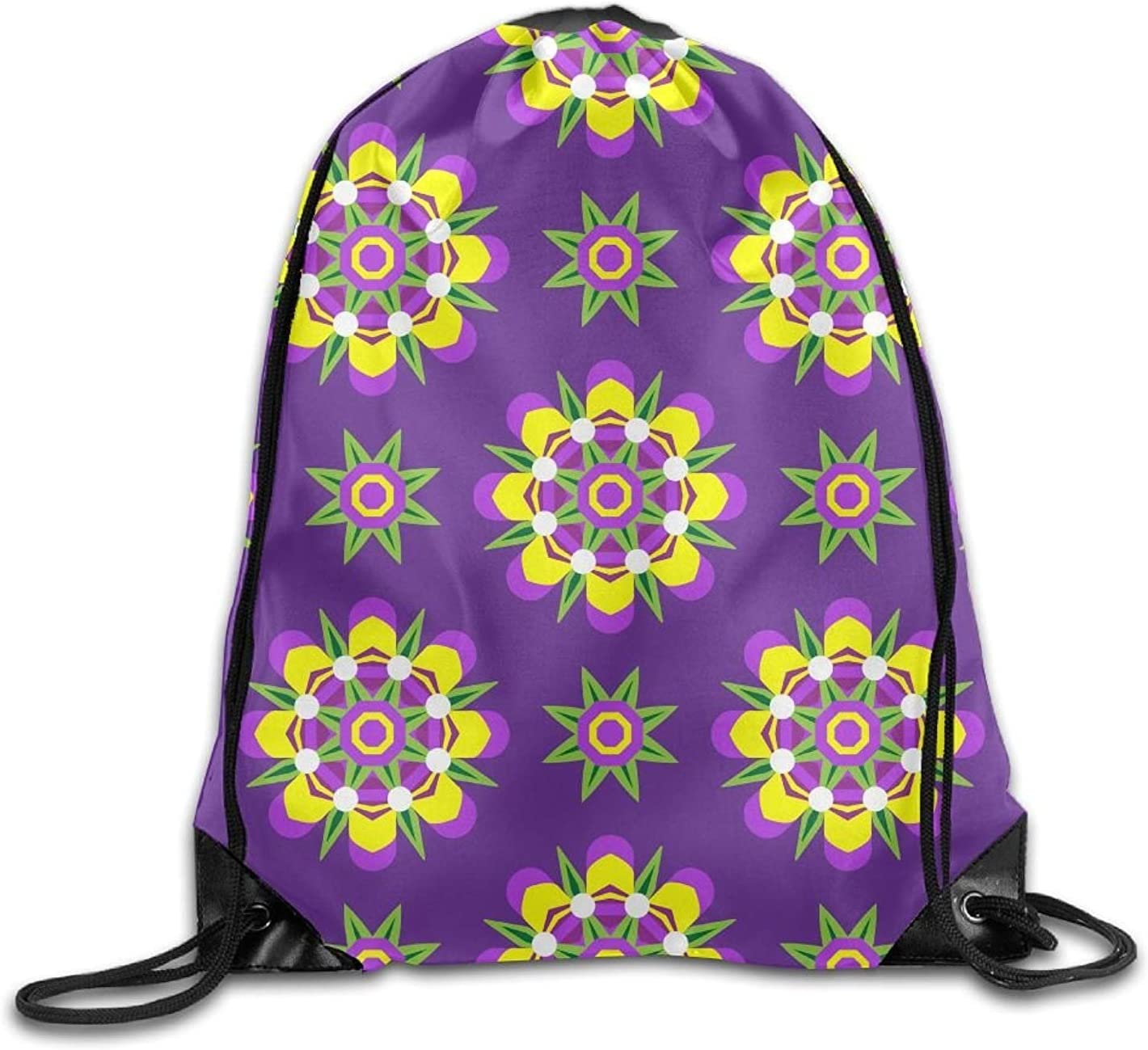 Gym Drawstring Bags Floral Pattern Seamless Draw Rope Shopping Travel Backpack Tote Student Camping