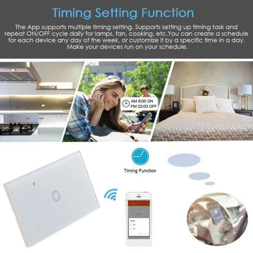 Switch Capacitive Hand Switch Wireless Remote Control Glass 1-gang Smart Home AU/US Crystal Waterproof Glass Touch Screen Light Switch&Mini Remote Wifi phone control (White) by Liu Nian (Image #4)