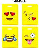 LiveEco Emoji Party Favor Bags for Kids, Pack of 40, Great for Birthday Celebration Parties, Fun Classroom Treats & Rewards, Carnivals, & Games, & Candy Goodie Grab Bag, Deluxe Emoticon Gift Supplies