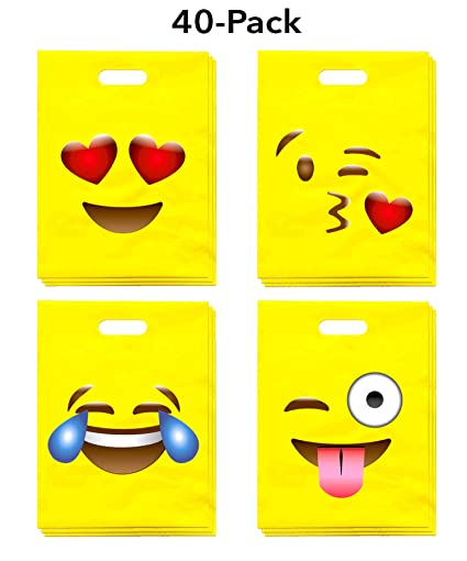 LiveEco Emoji Party Favor Bags For Kids Pack Of 40 Great Birthday Celebration