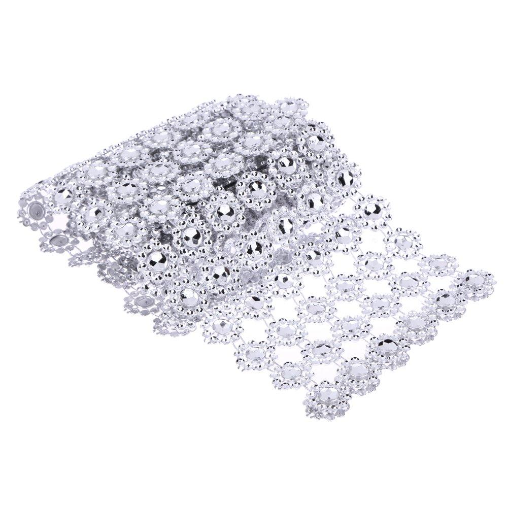 クリスタルラインストーンチェーン、閉じ1ヤード6ロールシルバーラインストーンウェディングダイヤモンドメッシュ装飾Centerpiec by ttnight   B075191F7T