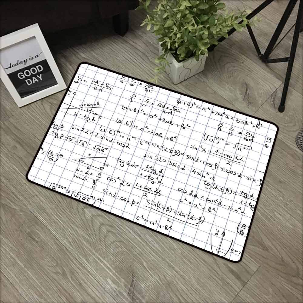 Mathematics Classroom Decor Commercial Grade Entrance mat Squared Notebook Page Lesson Notes Student Print for entrances garages patios W31.5 x L47.2 Inch Light Blue Black White by Linhomedecor