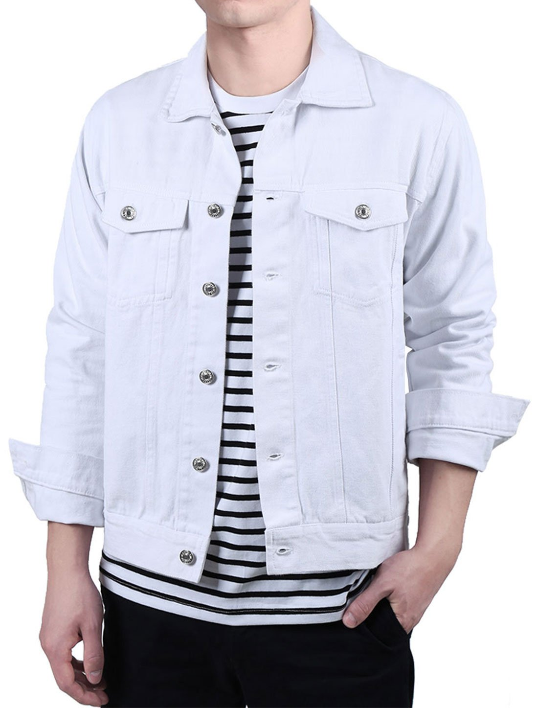 uxcell Men Button Down Solid Color Long Sleeve Casual Denim Trucker Jeans Jacket White M US 40 by uxcell