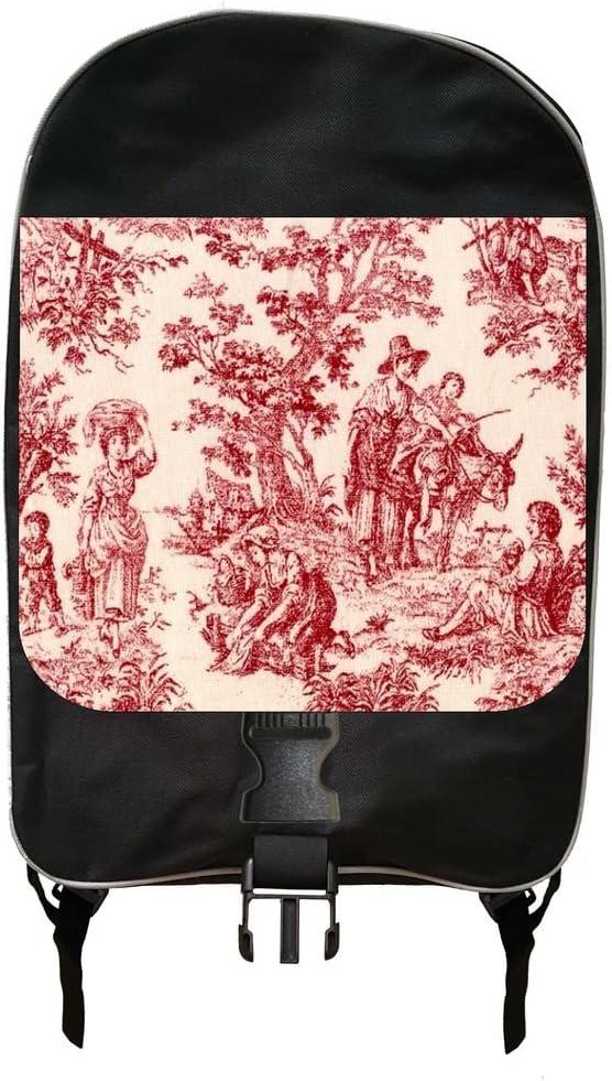 Red Bohemian Toile Print Design Backpack
