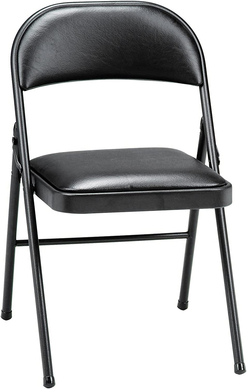 Meco 10-Pack Deluxe Vinyl Padded Folding Chair, Black Lace and Black Vinyl  Seat and Back
