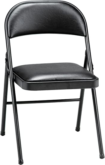 Amazon Com Meco 4 Pack Deluxe Vinyl Padded Folding Chair Black Lace And Black Vinyl Seat And Back Furniture Decor