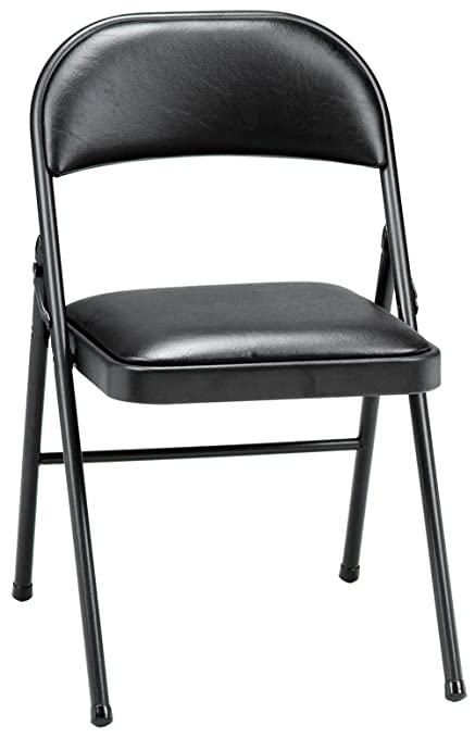 Charmant MECO 4 Pack Deluxe Vinyl Padded Folding Chair, Black Lace And Black Vinyl  Seat