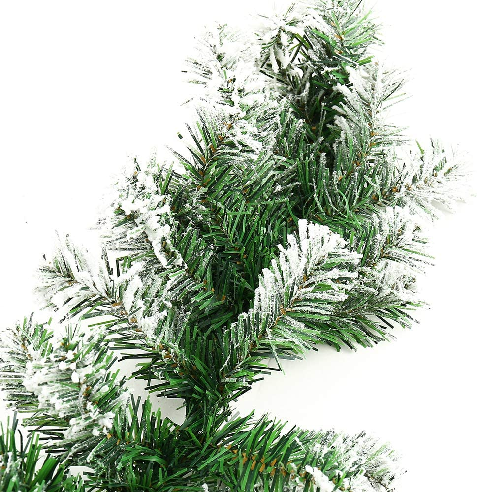 BullStar 6 Feet Christmas Decorations Christmas Garland Artificial Wreath with Berries and Pinecones Xmas Decorations for Stairs Wall Door 1 Pack, F-Snow