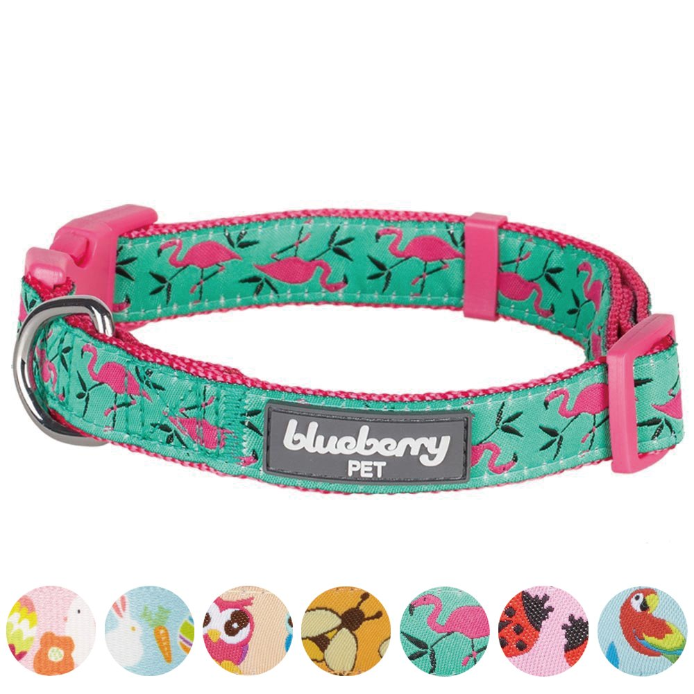 Blueberry Pet 7 Patterns Pink Flamingo on Light Emerald Dog Collar, X-Small, Neck 7.5''-10'', Adjustable Collars for Dogs