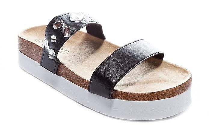 fb06d4937ec Charles Albert Women's Platform Double Strap Arizona Jewel Studded Sandals