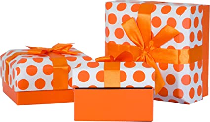 3 piezas. Caja de cartón de regalo, puntos de colores con cinta de regalo, color naranja: Amazon.es: Oficina y papelería