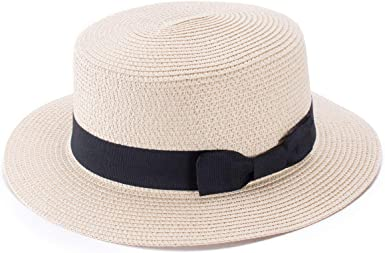 Foldable Sun caps Ribbon Round Flat Top Straw Beach hat Hat Summer Hats for Women Straw hat