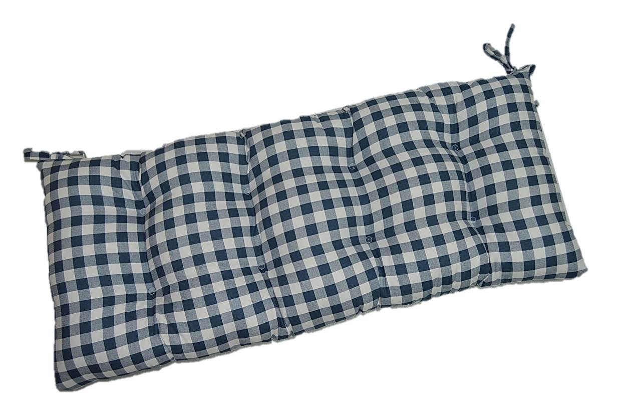 Blue Plaid / Country Checkered / Checkerboard Indoor Cotton Tufted Cushion with Ties for Bench, Swing, Glider - Choose Size (48'' x 20'')