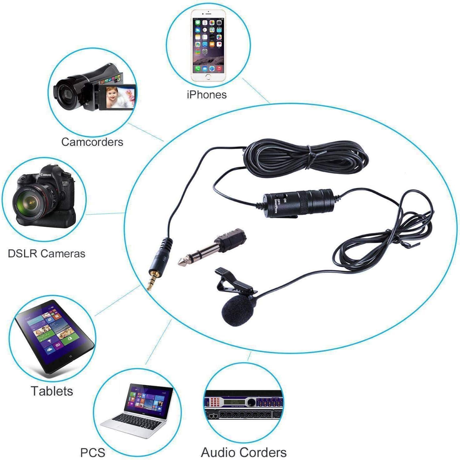 Accrie BOYA BY-M1 Micr/ófono omnidireccional Lavalier para Canon Nikon DSLR tel/éfono celular