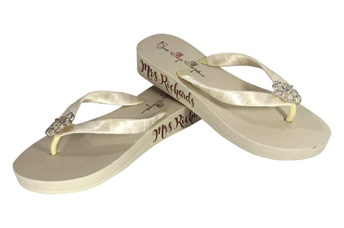 98dc45ef8 Amazon.com  Customizable Bridal Flip Flops with Mrs Last Name - Rose Gold   Handmade