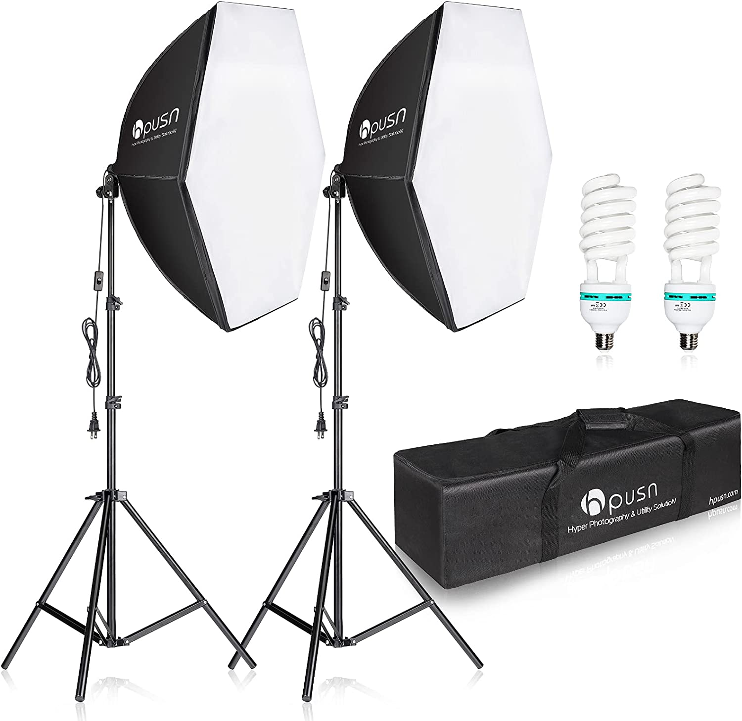 HPUSN Softbox Lighting Kit 2x76x76cm Photography Continuous Lighting System Photo Studio Equipment with 2pcs E27 Socket 85W 5400K Bulbs for Portrait Product Fashion Photography