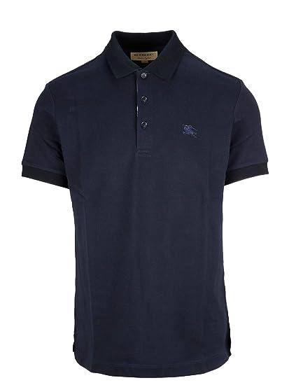 3a7185f80e98 BURBERRY Men's 8000917 Blue Cotton Polo Shirt: Amazon.co.uk: Clothing