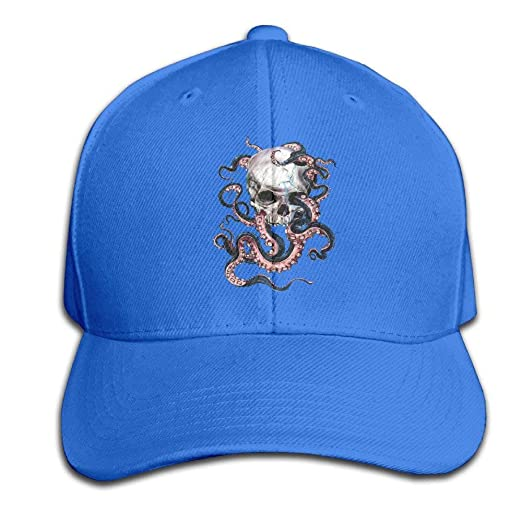 Skull and Octopus Adjustable Baseball Caps Unstructured Dad Hat 100% Cotton  Ash at Amazon Men s Clothing store  f0bbbd1c3d45