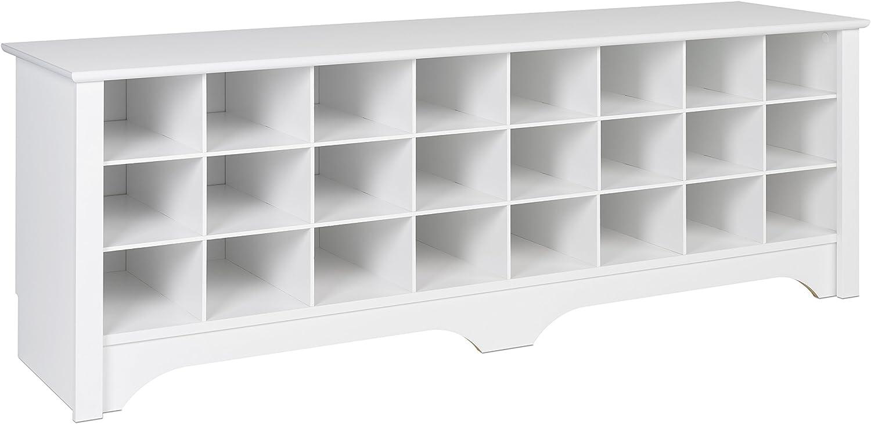 Prepac WSS-6020 24 Pair Shoe Storage Cubby Bench, White