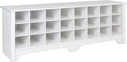 Prepac 24 Pair Shoe Storage Cubby Bench, White