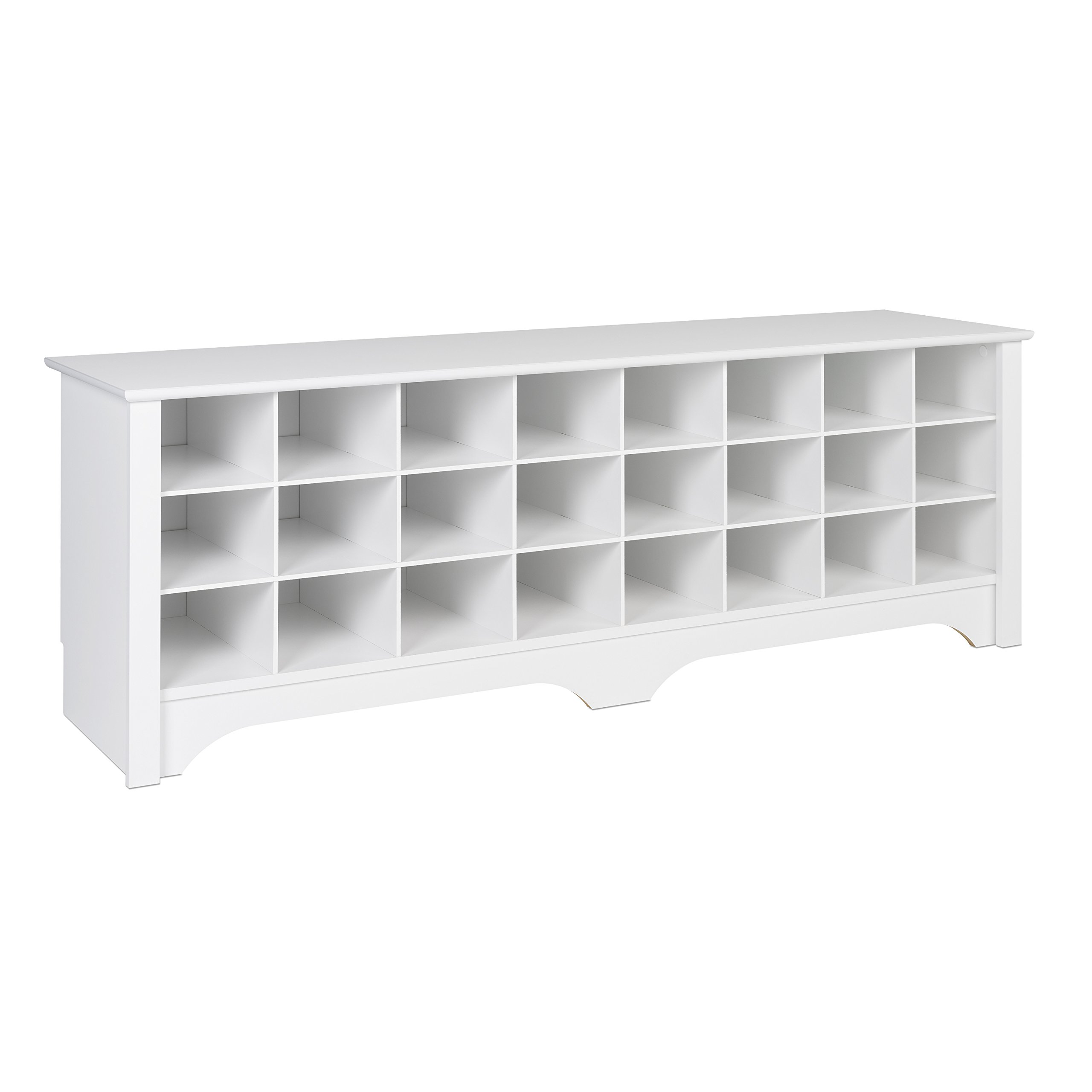 Prepac  24 Pair Shoe Storage Cubby Bench, White by Prepac