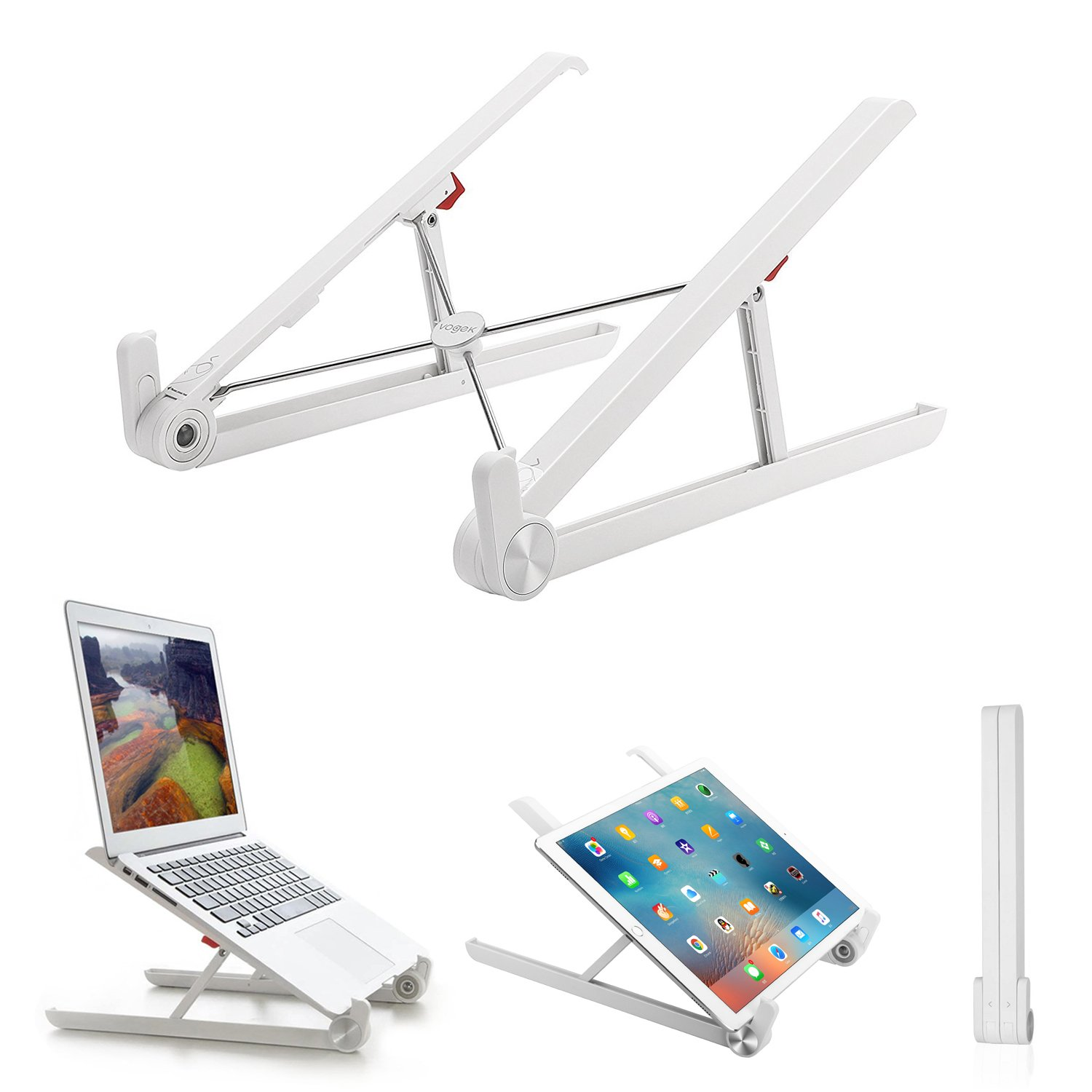 Laptop Stand for Desk, Vogek Adjustable Foldable Portable Laptop Stand for MacBook Pro/Air, iPad Pro, Surface Pro 3/4, ThinkPad MateBook and More (White)