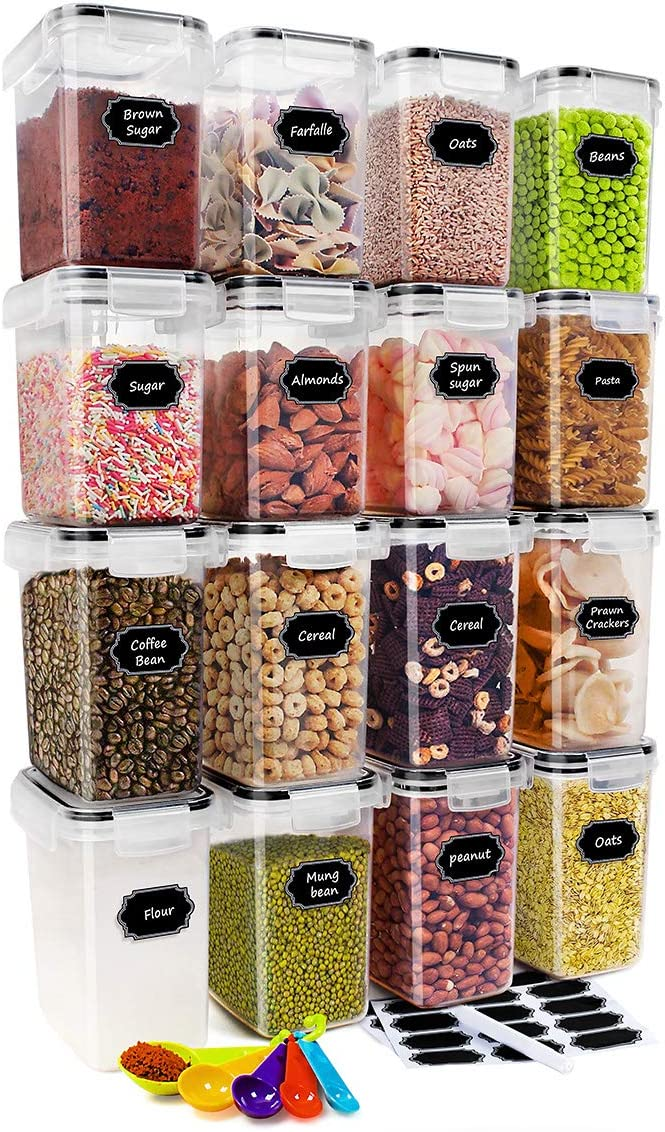 CREATIVE DESIGN Food Storage Containers, 16 PC (1.6L&1.4L) BPA Free Cereal Storage Container Airtight Container for Cereal, Snacks, Sugar and Flour