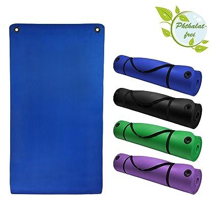 Esterilla colchoneta –de yoga– ENERGY PROFESSIONAL 190 cm x 100 cm x 1.5 cm con ojales practicales para fitness deportiva pilates gimnasia ejercicio