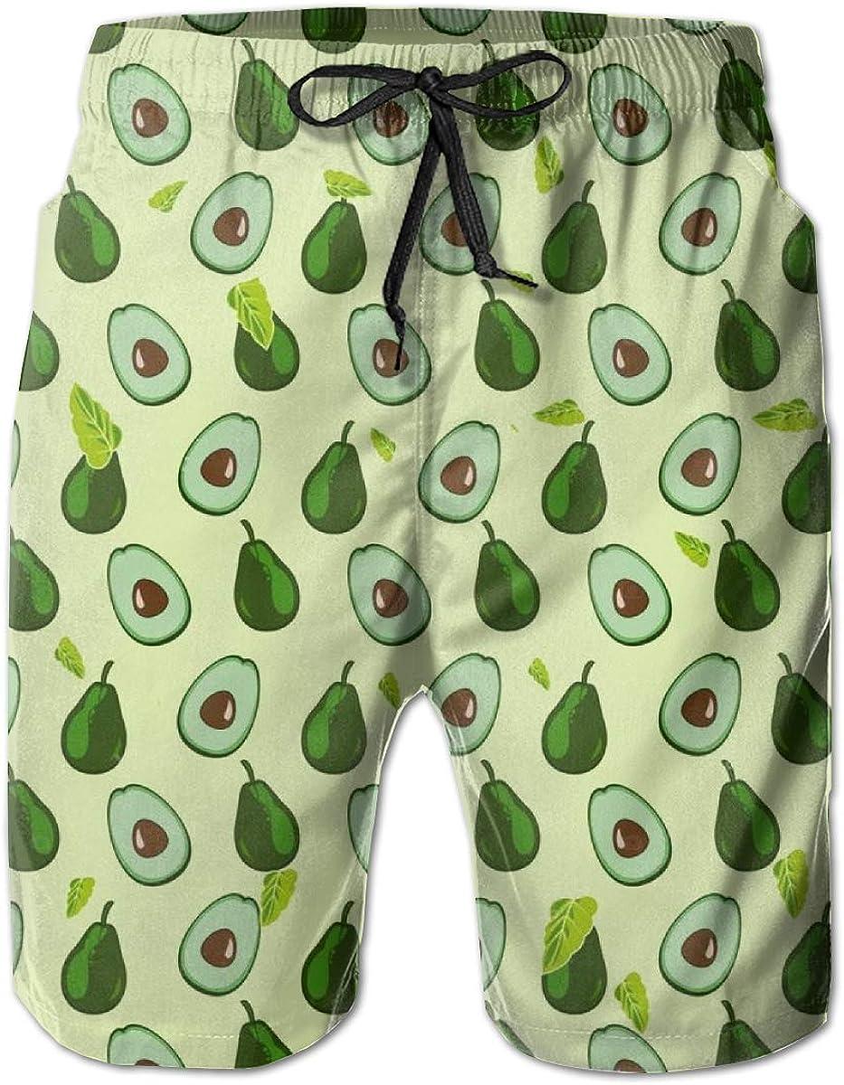 Swim Trunks Men Short Mesh Lining Flamingo Board Shorts Quick Dry Beachwear with Pockets Lemon, XXL