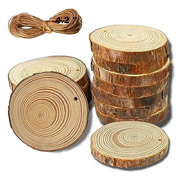 Yuqi Holzscheiben 12 Stucke Unbehandeltes Holz Log Scheiben Rund 7 8